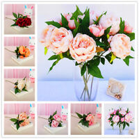 Rose Pink Silk Bouquet Peony Artificial Flowers Bride Wedding Home Decoration
