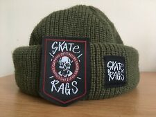 Skate Rags Watch Cap Commando Hat Beanie + Embroidered Patch OLIVE