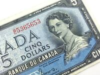 1954 Canada 5 Dollar Circulated Devil Face BC Coyne Towers Banknote R190