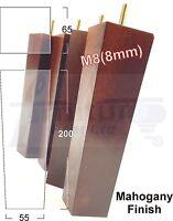 4 WOODEN LEG FURNITURE FEET MULTIPLE COLOURS SOFA CHAIR SETTEE M8(8mm) 20cm HIGH