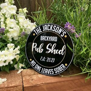 Personalised Circular Pub Shed Sign | Home Pub Sign | Garden Sign | Home Bar