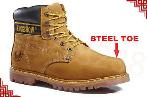 """Men's 6"""" Work Boots Shoes With Steel Toe Leather Shoe Lace Up A6011ST 8605ST"""
