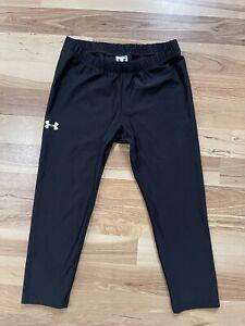 Juniors UNDER ARMOUR Capri Leggings Cropped Athletic Gym Pants Black Sz XS