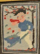 Vintage Framed Needlepoint Fall Boy Wheelbarrow of Leaves Windy Day