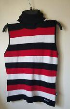 NWOT Bisou Bisou?black/red/white Sleeveless Sweater Turtle Neck Tank Top sz s