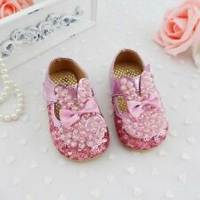 New Baby Girl Pink Glitter Pearl Seqin Shoes Wedding Baptism Birthday Pre Walker