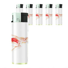 Butane Refillable Electronic Gas Lighter Set of 5 Pin Up Girl Design-007