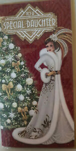 DAUGHTER - CHRISTMAS CARD - LOVELY ART DECO TOP QUALITY CARD 23 X 12 CMS