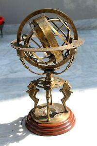 "18"" Nautical Brass Armillary World Globe W/Wooden Base Collectible Table Decor."