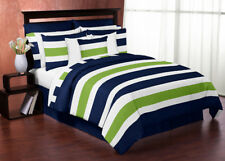 Sweet Jojo Designs Modern Navy Lime Kids Twin Bedding Set for Teen Boys Bedroom