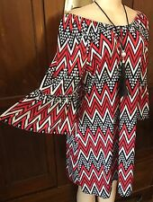 WOMENS PLUS DRESS 2X NEW TUNIC TOP RED 18 20 XXL SHOULDER CUTE NWT SPRING DEAL