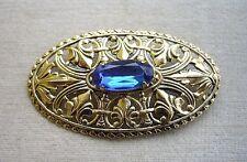 Classic Unused Vintage Czech Filigree & Blue Glass Oval Brooch