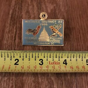 Vintage 1986 Delaware Maryland DC Multiple District 22 Lions Club Pin