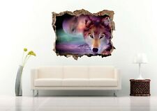 Nice Landscape Wolf in Painting 3D Wall Decal  Nursery Vinyl Decal Sticker