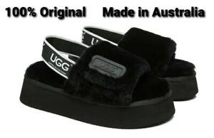 100% UGG Made in Australia Sandals Women Fluffy Slide Poppin Black All Sizes