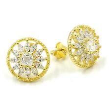 STERLING SILVER 925 GOLD PLATED FINISH ROUND CZ POST EARRINGS