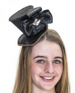 Black & Gold Mini Top Hat W/Bow Showgirl Costume Accessory