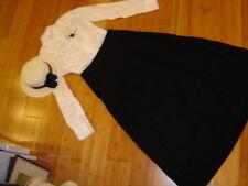 School Marm Vict. costume 2 pc white blouse black skirt straw hat M  Steampunk