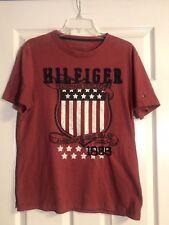 Rare Vintage 80s Tommy Hilfiger Red T-shirt Mens Medium Embroidered