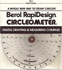 "1//4/"" Scale Berol Rapidesign Circleometer Drafting Measuring Compass RC-3"