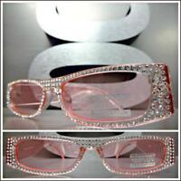 Classy Elegant Exotic Retro Style SUNGLASSES Pink Frame & Lens Bling Rhinestones