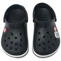 Crocs Crocband Kids Clog Black/White 7+ Junior 2 Slip on Shoes w/ Heel Strap