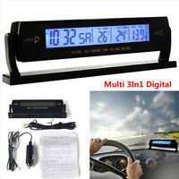 Multi 3In1 Digital Battery Alarm TIME + Thermometer + Car Voltage LED Backlight