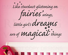 Wall Decal Sticker Quote Vinyl Art Little Girls' Dreams Magical Girl's Room K93