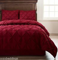 Pinch Pleat BURGUNDY 4-Piece Comforter Set, Full,Queen,King, Cal-King Size Bed