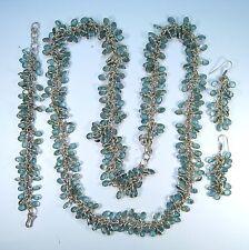 & Earrings - 925 Sterling Silver Matching Faux Blue Topaz Necklace, Bracelet