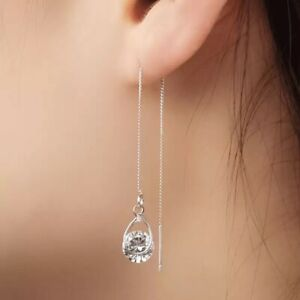 Beautiful Silver Asymetric Threaders Made With Swarovski Crystals Wedding  DX1