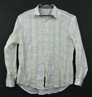 Robert Graham Mens 100% Cotton Flip Cuff Button Front Long Sleeve Dress Shirt XL