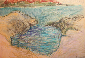 1993 Expressionist pastel painting landscape signed