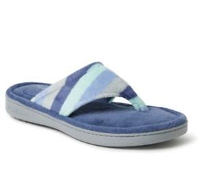 NWT - Dearfoams Melanie Terry Cloth Thong Slipper Blue
