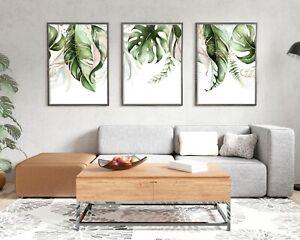 Botanical Leaf Print Set Of 3, Botanical Abstract, Leaf Wall Art, Poster, Print