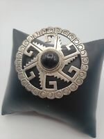 Taxco Mexico 925 Silver Vintage Onyx Color Large Brooch Pendant Modernist