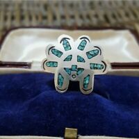 Vintage Native American Design Sterling Silver Ring, Turquoise Inlay, Size L 1/2