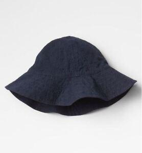 New Gap Kids Baby Girls Navy Blue Eyelet Floral Cotton Brim Sun Hat S/M