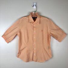 Ralph Lauren Sport Button Down Shirt Size 14 Womens Orange Striped Career Blouse