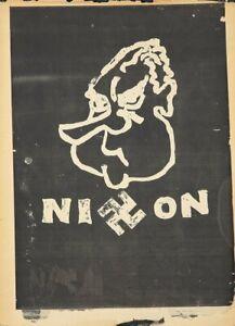 Originale Vintage Poster Anti-vietnam Nixon Risd 1968 Silk-Screened