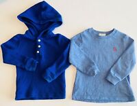 2 Polo Ralph Lauren Infant Toddler 24 Month Waffle Henley Long Sleeve Shirts Lot