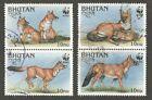 AOP Bhutan #1149a-d 1997 WWF ANIMALS set of 4 used