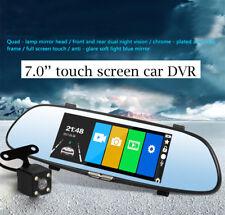 "7"" HD 1080P Car DVR Dual Lens Rear View Mirror Video Camera Recorder Dash Cam"