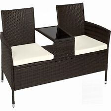 Garden Rattan Bench Glass Table Outdoor 2 Seats Cushions Brown Black Furniture