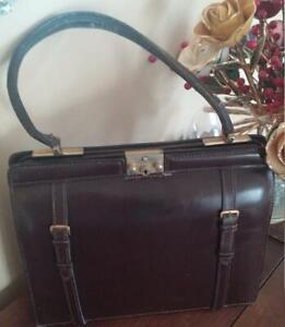 Brown Mahogany Leather Handbag Purse Saks Fifth Avenue Made in France