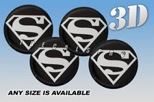 SUPERMAN domed wheel center cap decals emblems stickers 4 pcs ~ ANY SIZE ~ s/b