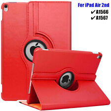 For iPad Air 2 Case 360 Rotating Smart Auto Stand Leather Cover A1566 A1567 Red