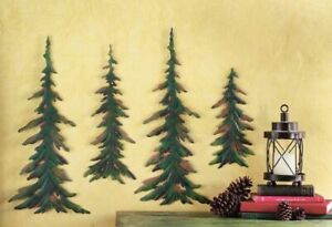 4PC Evergreen Woodland Lodge Cabin Pine Tree Rustic Timberline Forest Wall Decor