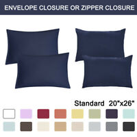 2 Pcs Standard Pillowcases Soft 1800 Microfiber Pillow Case Covers 17 COLORS