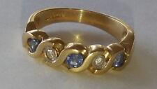 Striking, quality,  70's, 9ct gold, sapphire, diamond ring, sz 7? 6.5/6.75, 4.2g